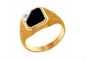 Золотые мужские кольца с ониксом