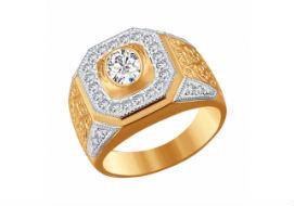 Золотые мужские кольца с фианитами