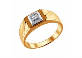 Золотые мужские кольца с бриллиантами