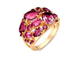 Золотые кольца с полудрагоценными камнями