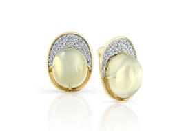 Золотые серьги с лунным камнем
