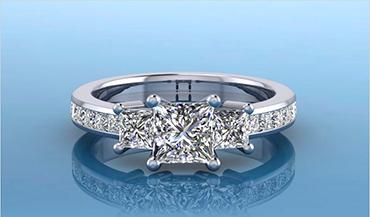 Премиальные кольца с тремя большими бриллиантами