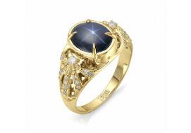 Золотые кольца со звездчатым сапфиром