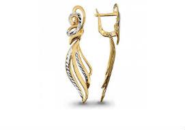 Длинные висячие золотые серьги без камней