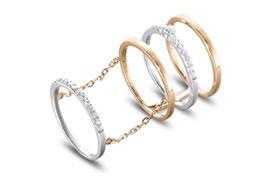 Золотые кольца на две фаланги