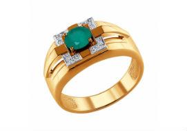 Золотые мужские кольца с хризопразами
