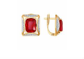 Золотые серьги с ГТ рубинами