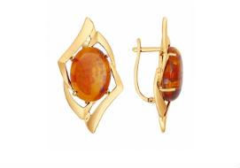 Золотые серьги с янтарем