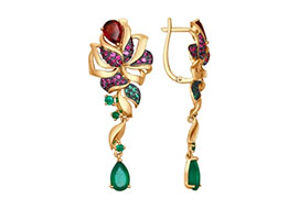 Длинные висячие золотые серьги с цветными камнями