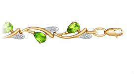 Золотые браслеты с хризолитами