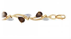 Золотые браслеты с раух-топазами
