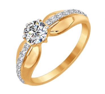 Золотые помолвочные кольца с фианитами