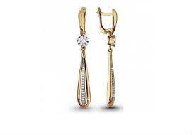 Длинные висячие золотые серьги с бриллиантами