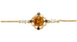 Золотые браслеты с янтарем