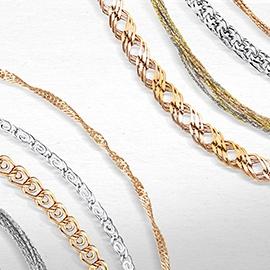 Цепи и цепочки из золота, серебра и платины