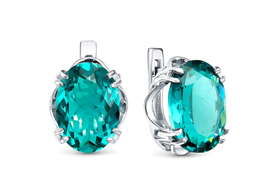 Серебряные серьги с ювелирным кристаллом