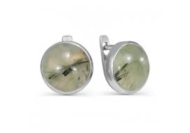 Серебряные серьги с пренитом