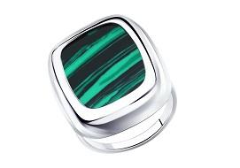 Серебряные кольца с малахитом