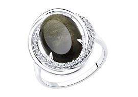 Серебряные кольца с обсидианом