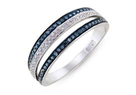 Золотые кольца с синими бриллиантами