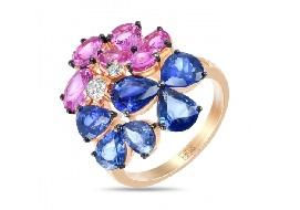 Золотые кольца с цветными сапфирами
