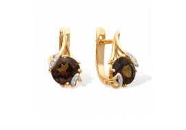 Золотые серьги с раух-топазами