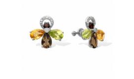 Золотые серьги гвоздики с цветными камнями