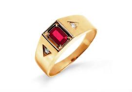 Золотые мужские кольца с рубинами