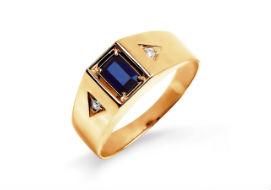 Золотые мужские кольца с сапфирами