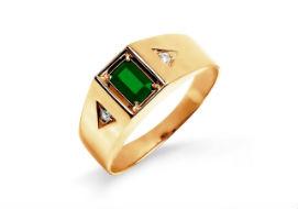 Золотые мужские кольца с изумрудами