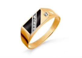Золотые мужские кольца с эмалью
