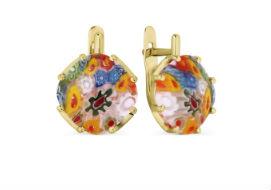 Золотые серьги с ювелирным стеклом