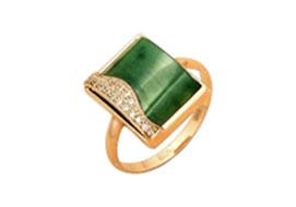 Золотые кольца с нефритом