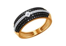 Золотые кольца с черными бриллиантами