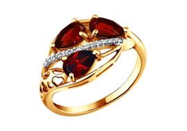 Золотые кольца с гранатами