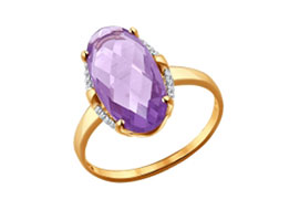 Золотые кольца с аметистами
