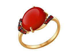 Золотые кольца с кораллом