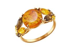 Золотые кольца с янтарем