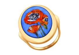 Золотые кольца с финифтью