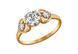 Золотые кольца со сваровски