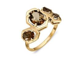 Золотые кольца с раух-топазами