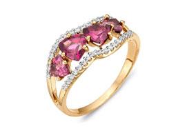 Золотые кольца с родолитом