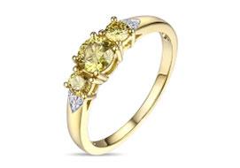 Золотые кольца с желтыми бриллиантами