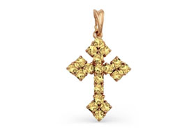 Золотые крестики с цитринами