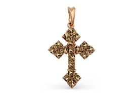 Золотые крестики с раух-топазами