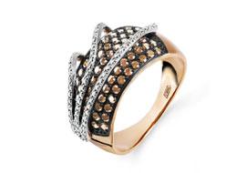 Золотые кольца с коньячными бриллиантами