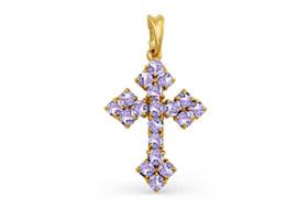 Золотые крестики с аметистами