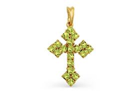 Золотые крестики с хризолитами