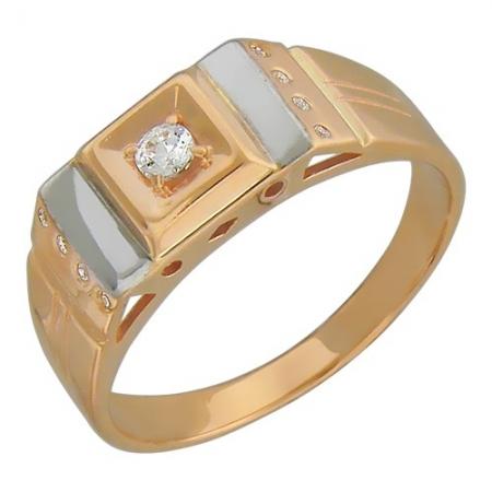 01Т114721 мужское золотое кольцо c фианитом