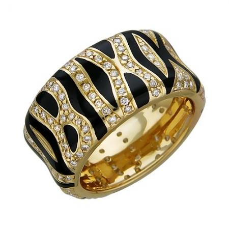 01К642374Э женское кольцо из желтого золота c эмалью, бриллиантом